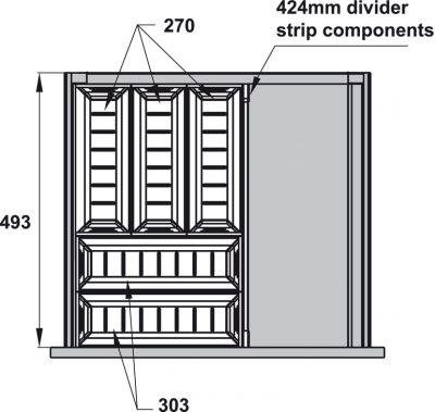 Khay chia inox Hafele cho ngăn kéo R500mm trắng mờ 552.52.891, Khay chia inox Hafele cho ngăn kéo R500mm xám đậm 552.52.390