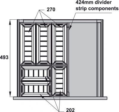 Khay chia inox Hafele cho ngăn kéo R500mm trắng mờ 552.52.893, Khay chia inox Hafele cho ngăn kéo R500mm xám đậm 552.52.392