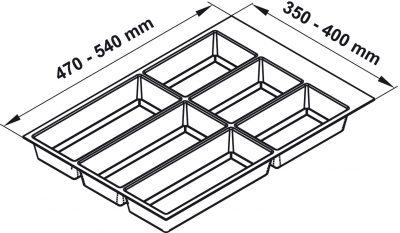Khay chia Classico trắng cho tủ bếp R450mm Hafele 556.52.743, Khay chia Classico xám đậm cho tủ bếp R450mm Hafele 556.52.243