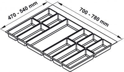 Khay chia Classico trắng cho tủ bếp R600mm Hafele 556.52.748, Khay chia Classico xám đậm cho tủ bếp R800mm Hafele 556.52.248