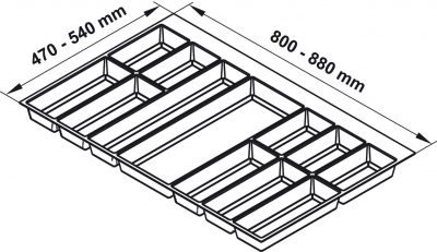 Khay chia Classico trắng cho tủ bếp R900mm Hafele 556.52.749, Khay chia Classico xám đậm cho tủ bếp R900mm Hafele 556.52.249